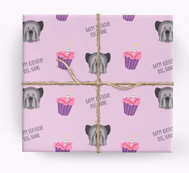 Personalized 'Happy Birthday' Cupcake Wrapping Paper with Skye Terrier Icons