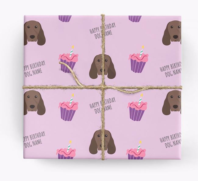 Personalised 'Happy Birthday' Cupcake Wrapping Paper with Springer Spaniel Icons