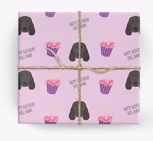 Personalized 'Happy Birthday' Cupcake Wrapping Paper with Springer Spaniel Icons