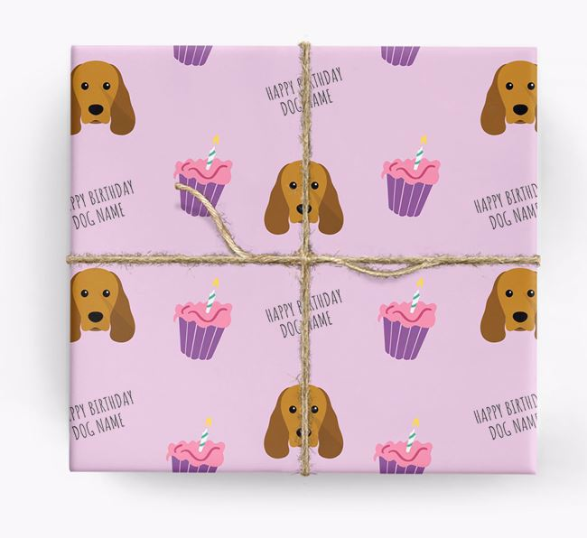 Personalized 'Happy Birthday' Cupcake Wrapping Paper with Sprocker Icons