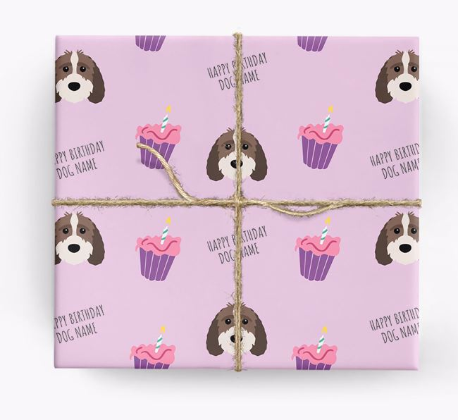 Personalized 'Happy Birthday' Cupcake Wrapping Paper with Sproodle Icons
