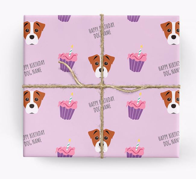 Personalized 'Happy Birthday' Cupcake Wrapping Paper with Staffy Jack Icons