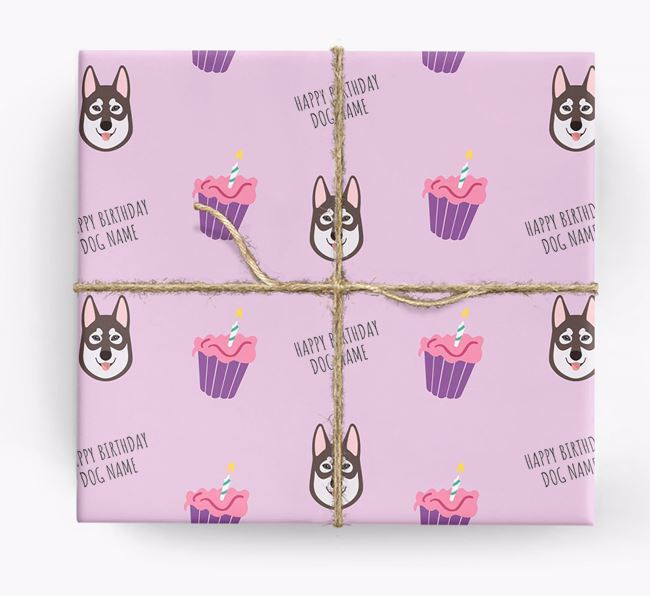 Personalised 'Happy Birthday' Cupcake Wrapping Paper with Tamaskan Icons