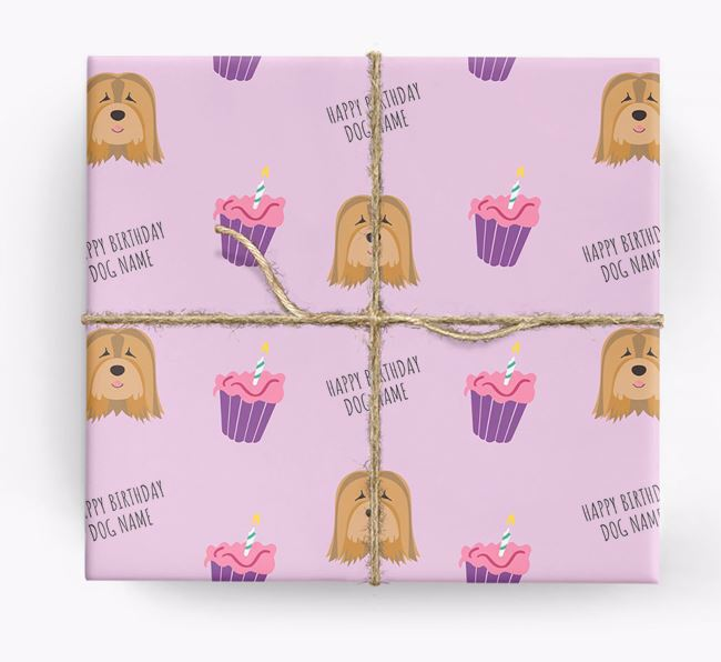 Personalized 'Happy Birthday' Cupcake Wrapping Paper with Tibetan Terrier Icons