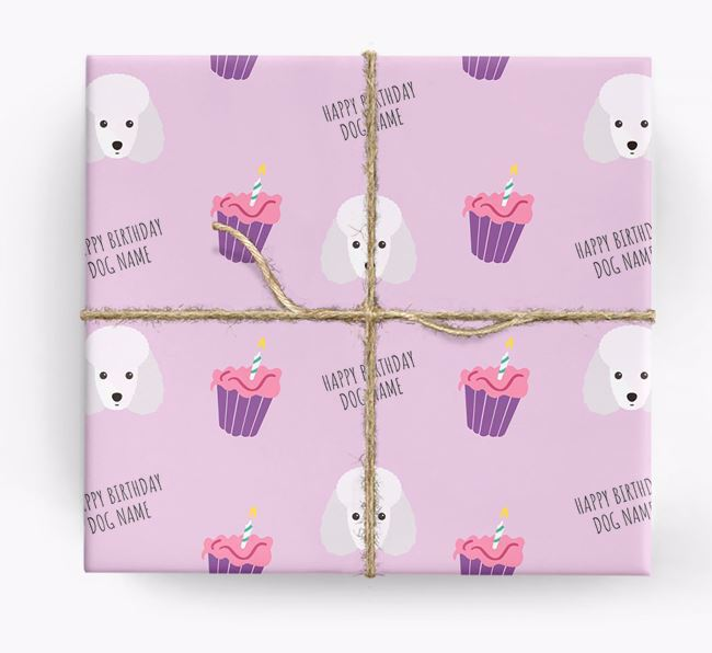 Personalized 'Happy Birthday' Cupcake Wrapping Paper with Toy Poodle Icons
