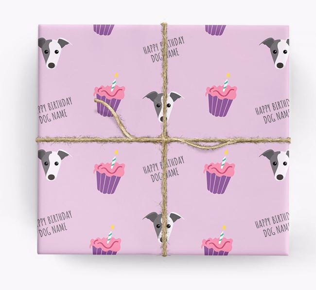 Personalized 'Happy Birthday' Cupcake Wrapping Paper with Whippet Icons