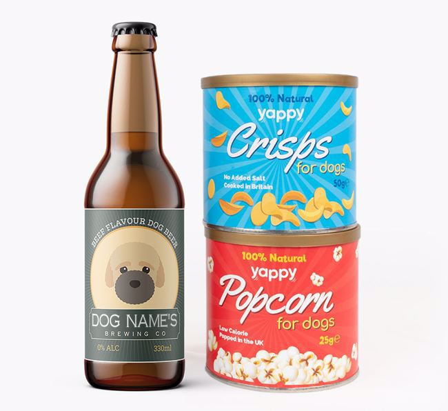 Personalised Beer Bundle 'Your Dog's Brewing co.' with Crisps & Popcorn