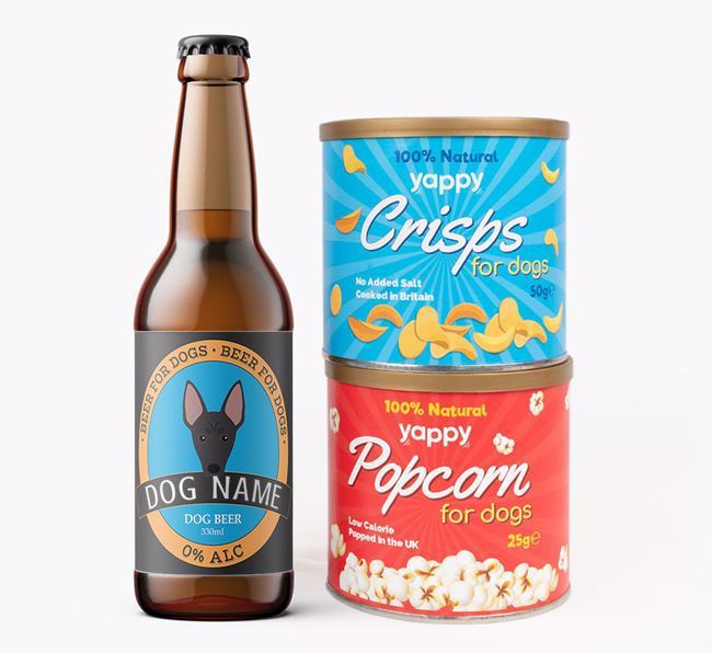 Personalised Hairless Beer Bundle with Crisps & Popcorn