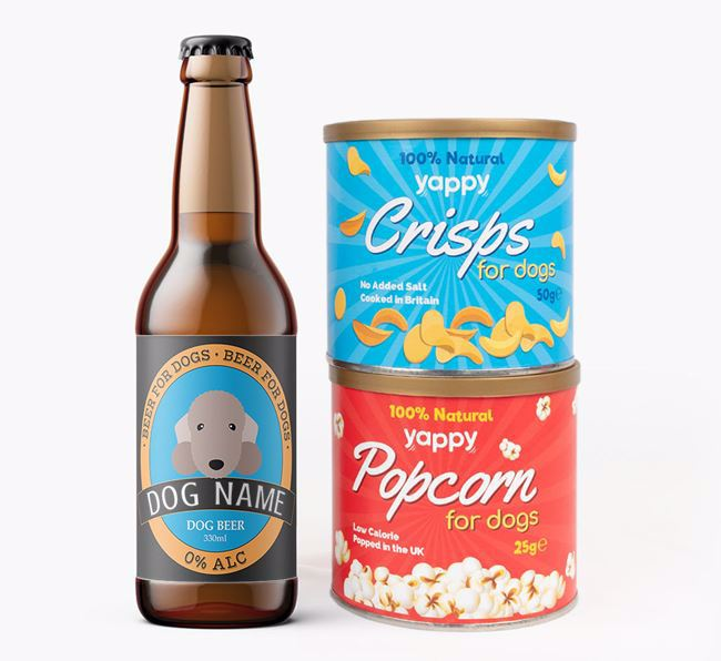 Personalised Bedlington Beer Bundle with Crisps & Popcorn