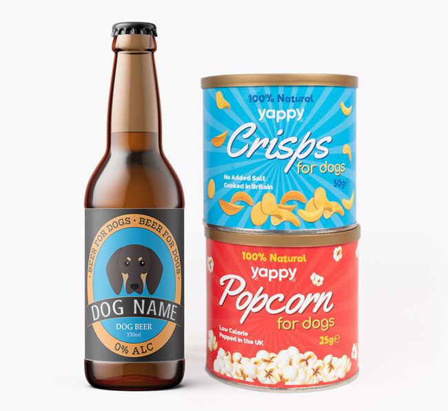 Personalised Coonhound Beer Bundle with Crisps & Popcorn