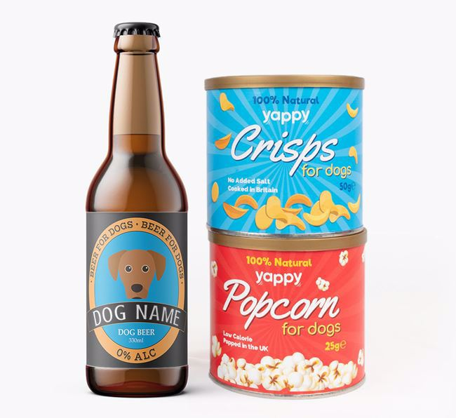 Personalised Lacy Dog Beer Bundle with Crisps & Popcorn