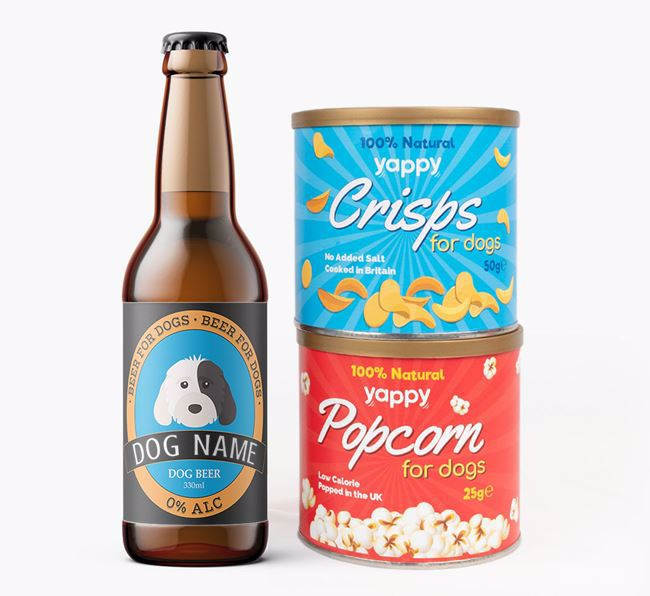 Personalised Cockapoo Beer Bundle with Crisps & Popcorn