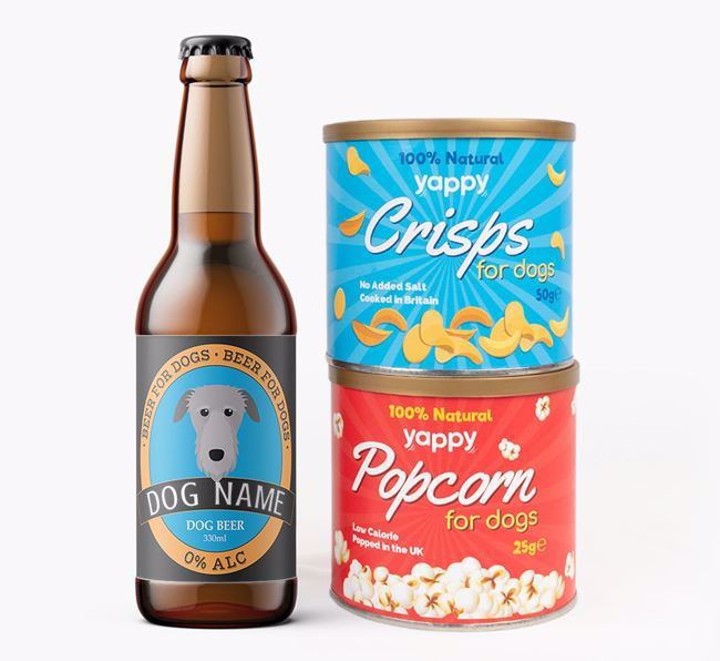 Personalised Deerhound Beer Bundle with Crisps & Popcorn