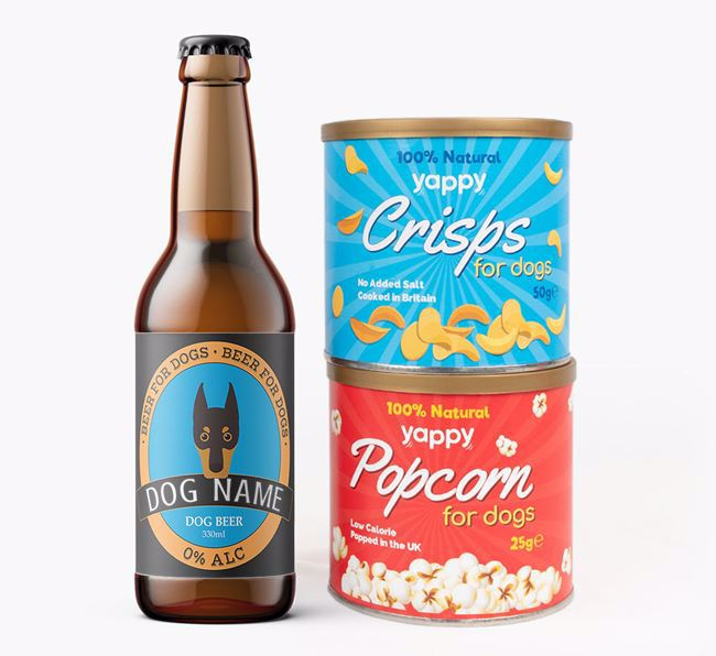 Personalised Dobermann Beer Bundle with Crisps & Popcorn