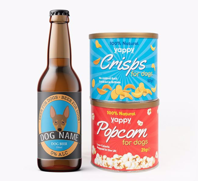 Personalised Min Pin Beer Bundle with Crisps & Popcorn