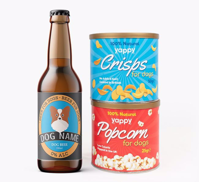 Personalised Papillon Beer Bundle with Crisps & Popcorn