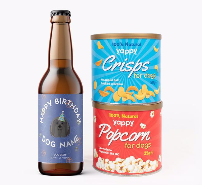 Personalised Bearded Collie Birthday Beer Bundle with Crisps & Popcorn