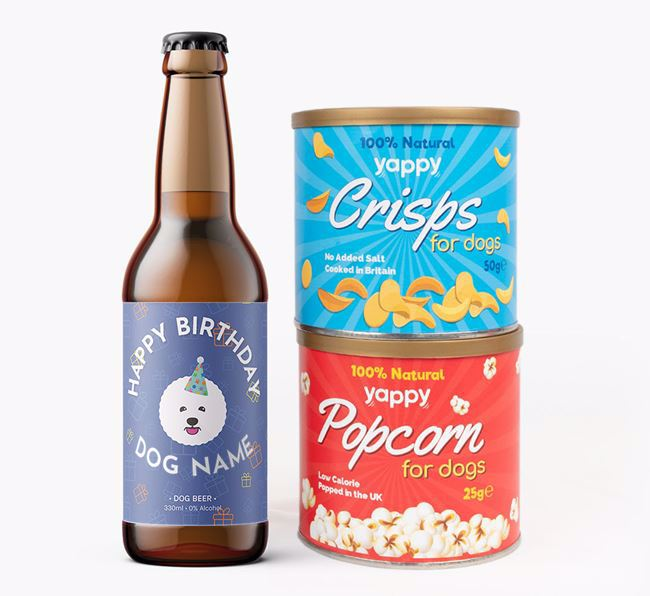 Personalised Bichon Frise Birthday Beer Bundle with Crisps & Popcorn