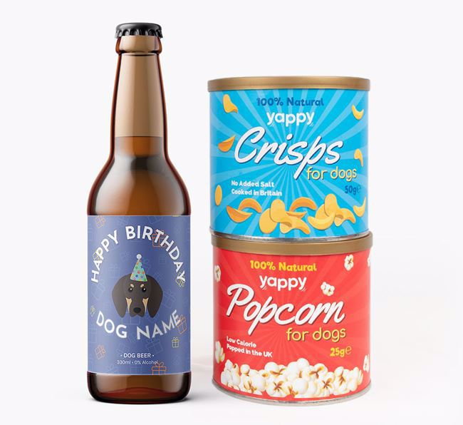 Personalised Black and Tan Coonhound Birthday Beer Bundle with Crisps & Popcorn