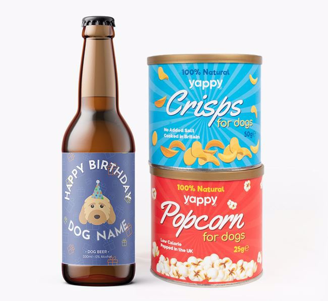 Personalised Cockapoo Birthday Beer Bundle with Crisps & Popcorn