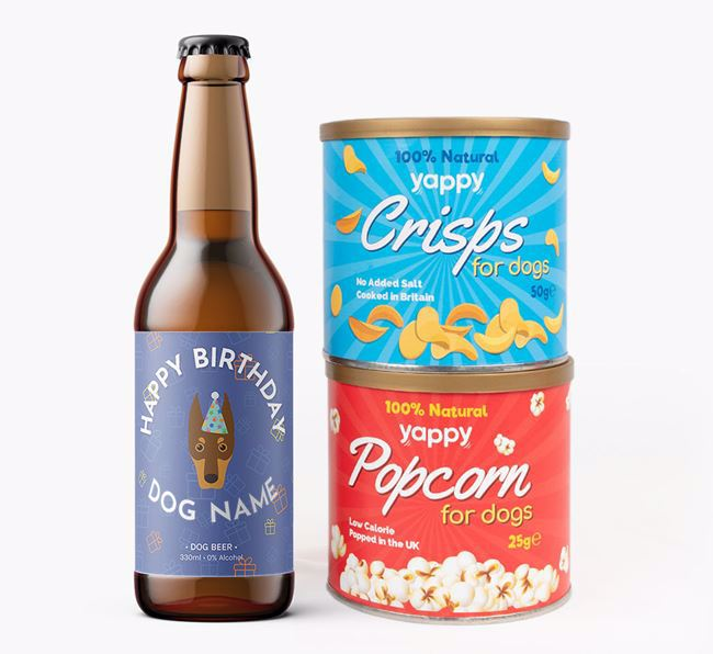 Personalised Dobermann Birthday Beer Bundle with Crisps & Popcorn
