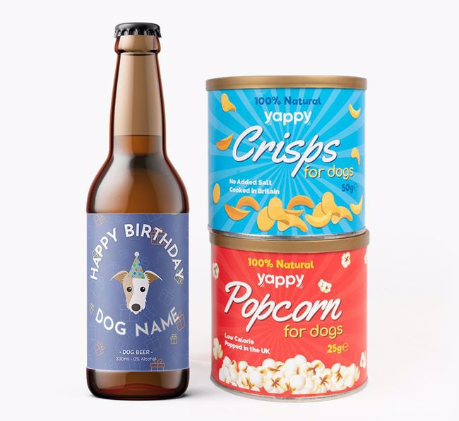 Personalised Lurcher Birthday Beer Bundle with Crisps & Popcorn