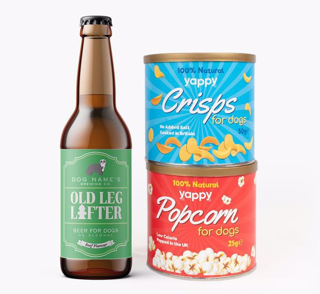 Personalised 'Old Leg Lifter' Bearded Collie Beer Bundle with Crisps & Popcorn