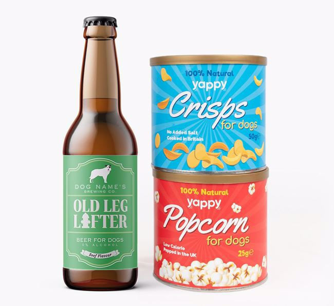 Personalised 'Old Leg Lifter' Border Collie Beer Bundle with Crisps & Popcorn