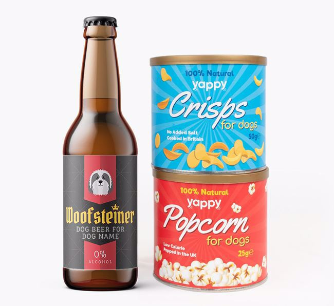 Personalised 'Woofsteiner' Bearded Collie Beer Bundle with Crisps & Popcorn