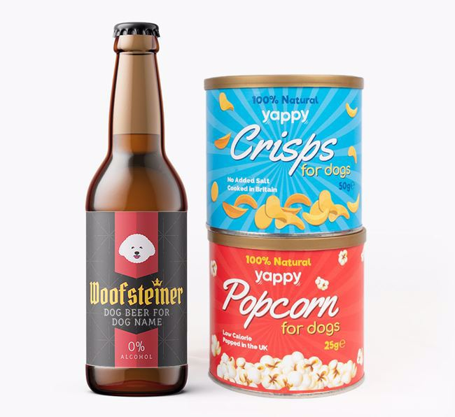 Personalised 'Woofsteiner' Bichon Frise Beer Bundle with Crisps & Popcorn
