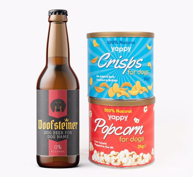 Personalised 'Woofsteiner' Coonhound Beer Bundle with Crisps & Popcorn