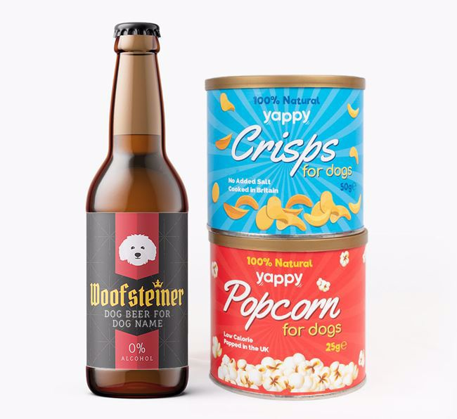 Personalised 'Woofsteiner' Bolognese Beer Bundle with Crisps & Popcorn