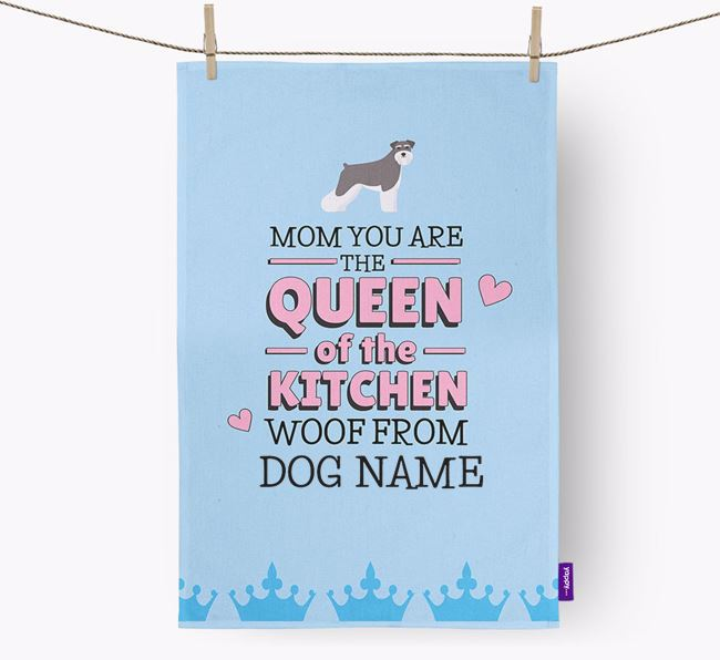 Personalised 'Queen of the Kitchen' Tea Towel with Dog Icon
