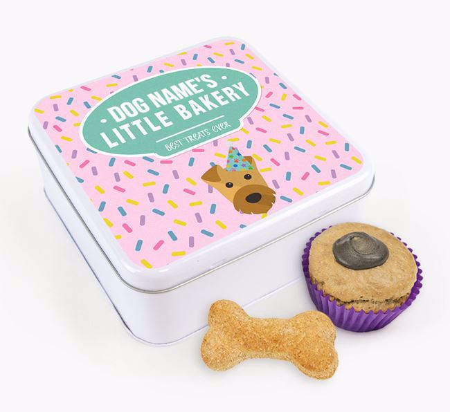 'Little Bakery' Square Treat Tin with Airedale Terrier Icon