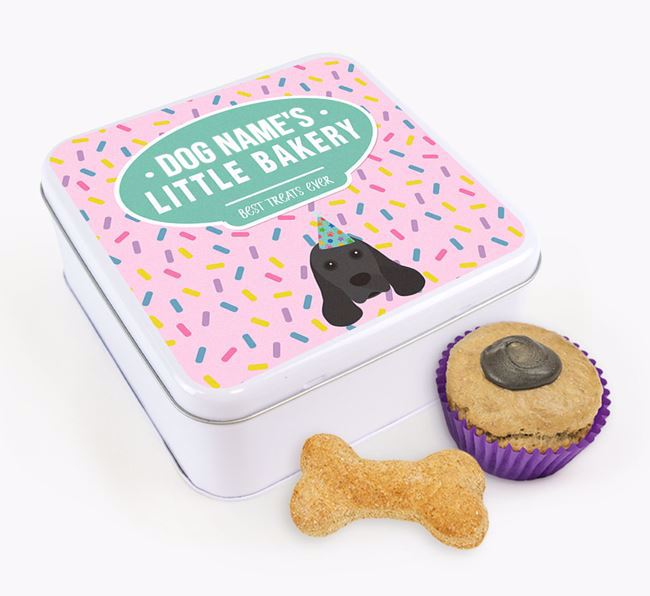 'Little Bakery' Square Treat Tin with American Cocker Spaniel Icon