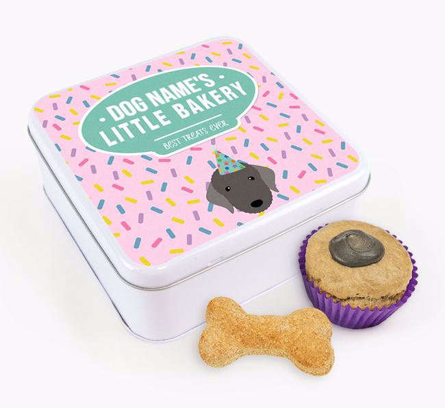 'Little Bakery' Square Treat Tin with Bedlington Terrier Icon