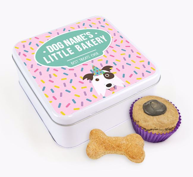 'Little Bakery' Square Treat Tin with Border Collie Icon