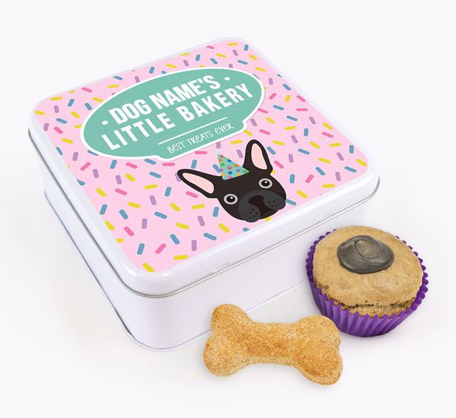'Little Bakery' Square Treat Tin with French Bulldog Icon