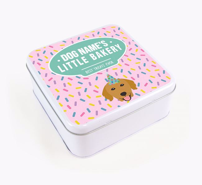 'Little Bakery' Square Treat Tin with Golden Retriever Icon