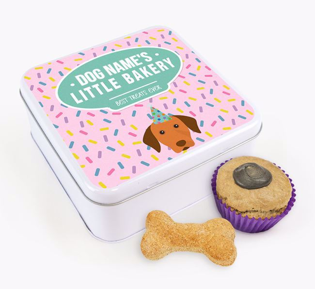 'Little Bakery' Square Treat Tin with Dog Icon