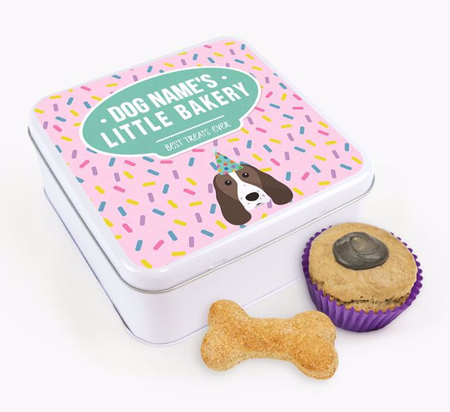 'Little Bakery' Square Treat Tin with Welsh Springer Spaniel Icon