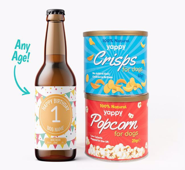Personalised 'Happy Birthday' with Age Dog Beer Bundle