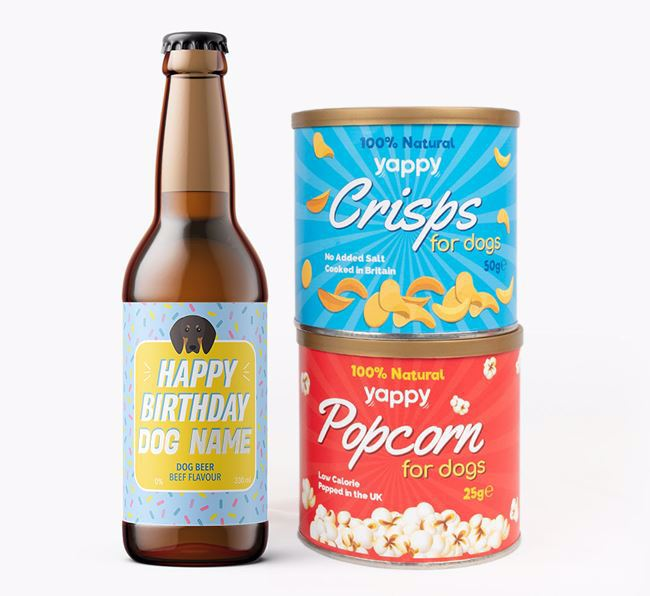 Personalised 'Happy Birthday' Black and Tan Coonhound Beer Bundle