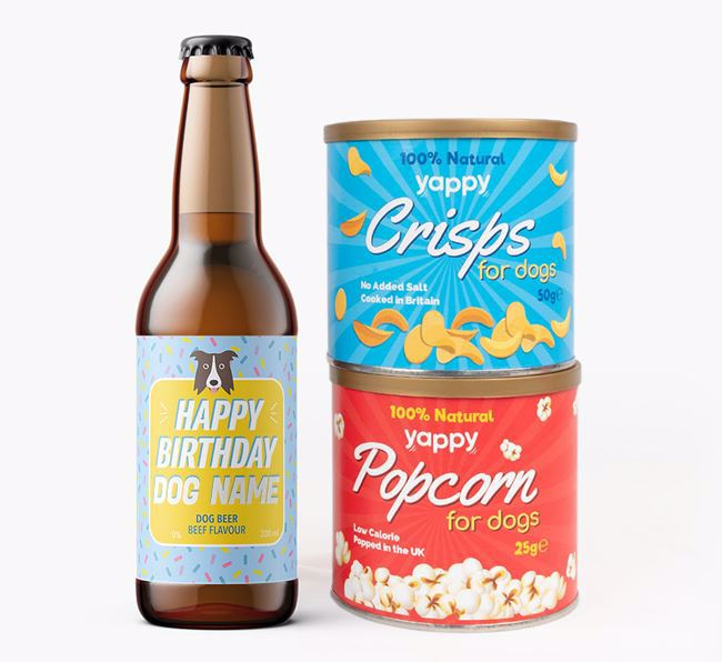 Personalised 'Happy Birthday' Border Collie Beer Bundle