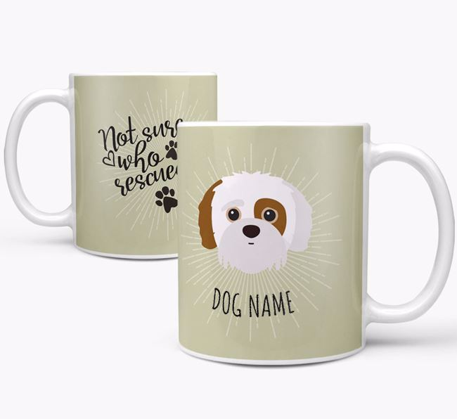 Personalised 'Who rescued whom' Mug with Jack-A-Poo Icon