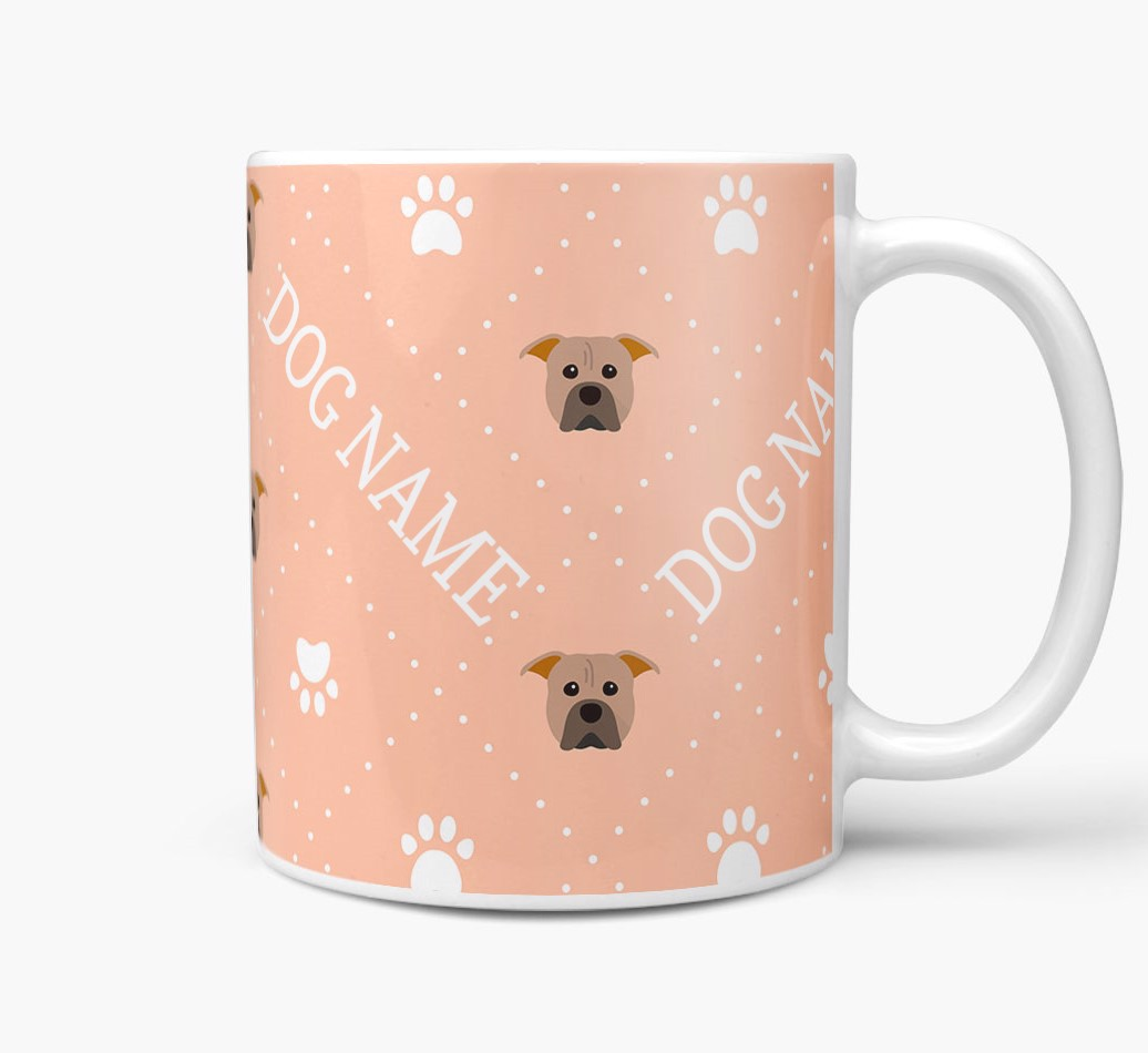 Personalised Mug with American Pit Bull Terrier Icons and Paw Prints Side View