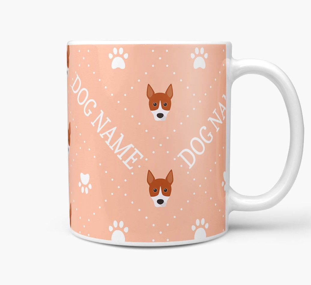 Personalised Mug with Basenji Icons and Paw Prints Side View