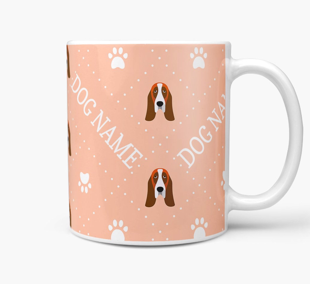 Personalised Mug with Basset Hound Icons and Paw Prints Side View