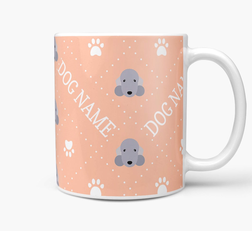 Personalised Mug with Bedlington Terrier Icons and Paw Prints Side View
