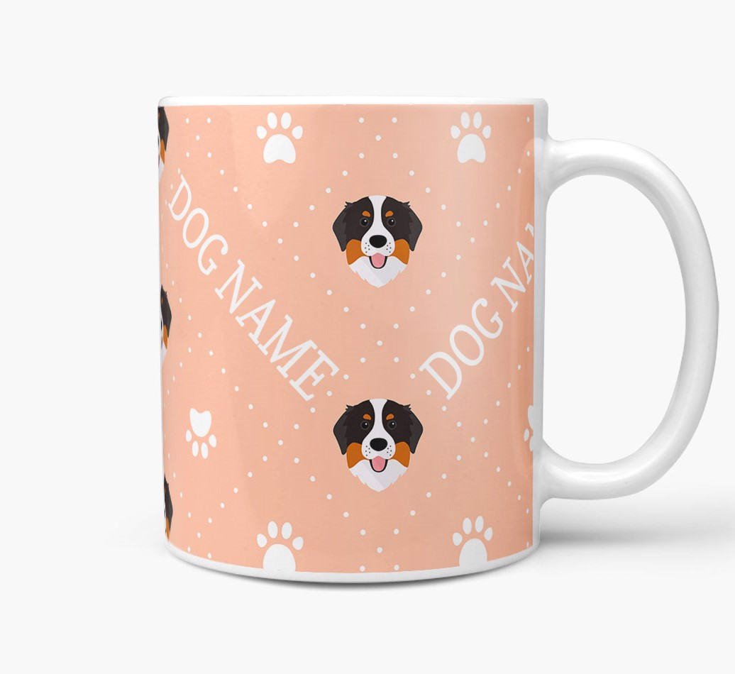 Personalised Mug with Bernese Mountain Dog Icons and Paw Prints Side View